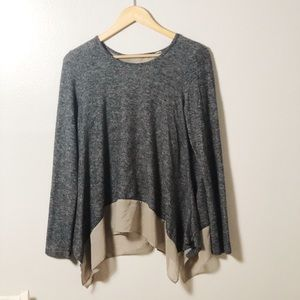 Tops - Grey and Tan Silk Flowy Blouse